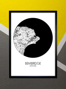 Bembridge Black and White round shape design poster city map