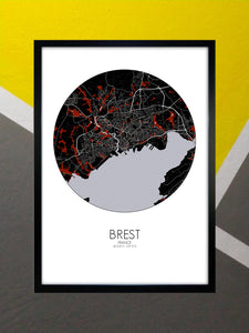 Mapospheres Brest Red dark round shape design poster city map