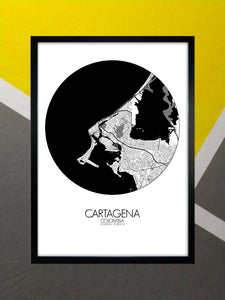 Cartagena Black and White round shape design poster city map