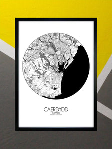 Mapospheres Cardiff Black and White round shape design poster city map