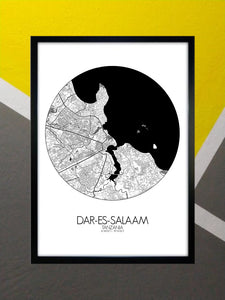 Mapospheres Dar Es Salaam Night round shape design poster city map