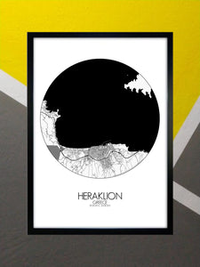 Mapospheres Heraklion Black and White round shape design poster city map