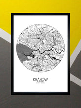 Load image into Gallery viewer, Mapospheres Crakow Krakow Black and White round shape design poster city map