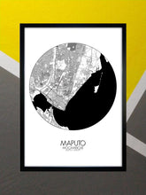 Load image into Gallery viewer, Mapospheres Maputo Red dark round shape design poster city map