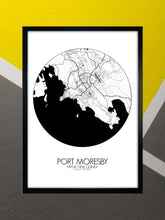 Load image into Gallery viewer, Mapospheres Port Moresby Black and White round shape design poster city map
