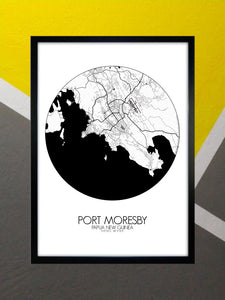 Mapospheres Port Moresby Black and White round shape design poster city map