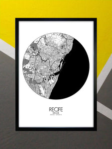 Mapospheres Recife Black and White round shape design poster city map