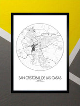 Load image into Gallery viewer, Mapospheres San Cristobal Red dark full page design poster city map