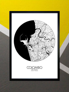 Mapospheres Colombo Red dark full page design poster city map