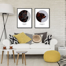 Load image into Gallery viewer, Bembridge Red dark round shape design poster city map