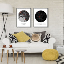 Load image into Gallery viewer, Mapospheres San Cristobal Red dark round shape design poster city map