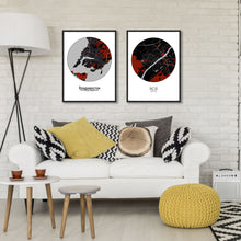Load image into Gallery viewer, Blois Red dark round shape design poster city map