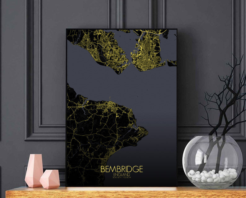 Bembridge Night full page design poster city map