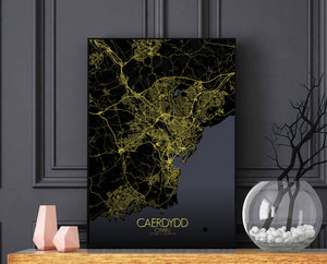 Mapospheres Cardiff Night full page design poster city map