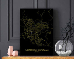 Mapospheres San Cristobal Night full page design poster city map