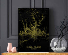 Load image into Gallery viewer, Ulaan Baatar Night full page design poster city map