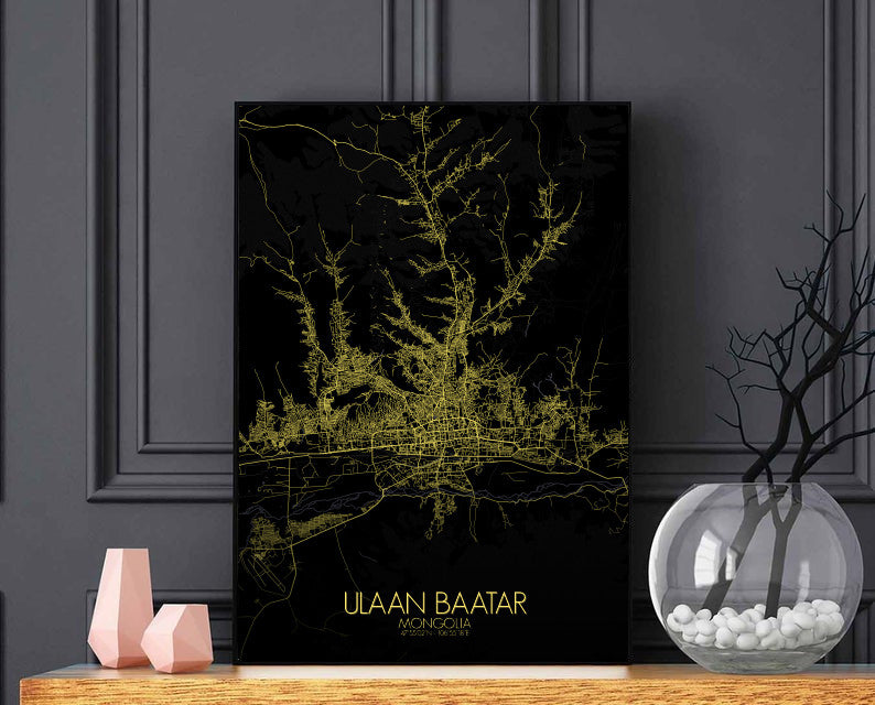 Ulaan Baatar Night full page design poster city map
