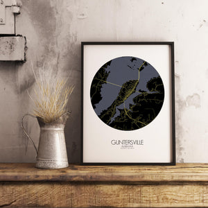 Mapospheres Guntersville Night round shape design poster city map