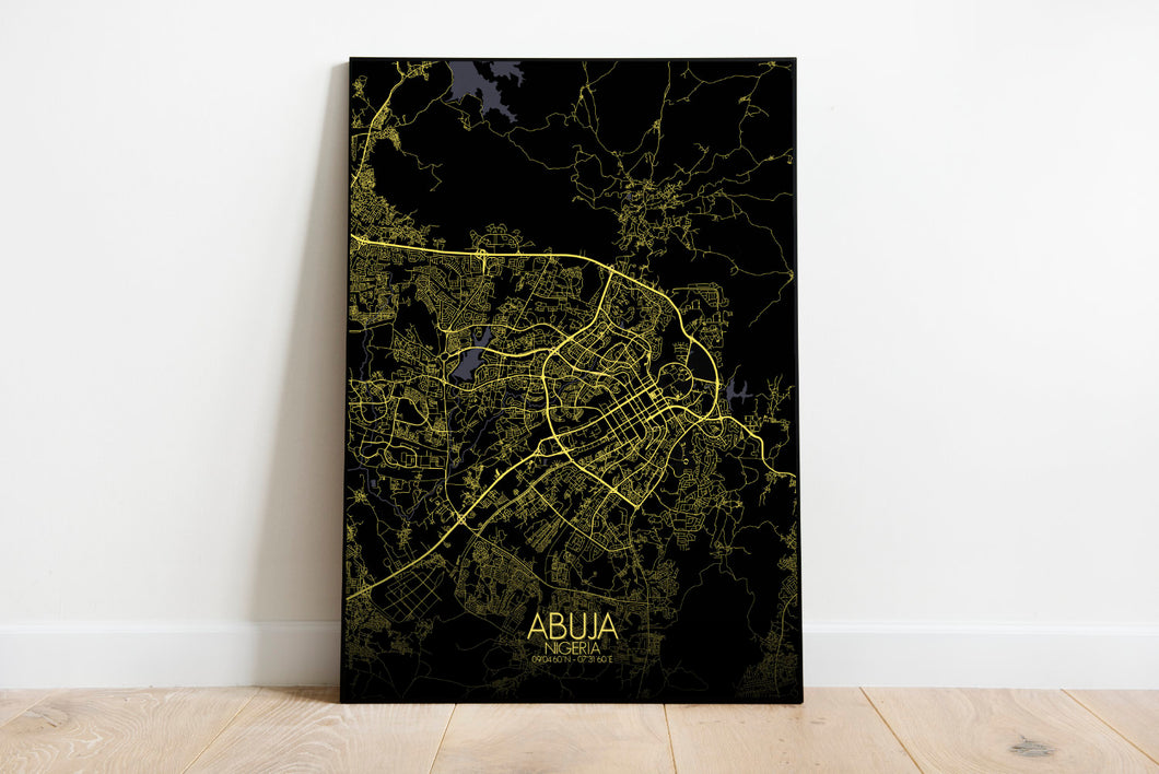 Mapospheres Abuja Night full page design poster city map