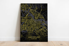 Load image into Gallery viewer, Mapospheres Amsterdam Night full page design poster city map
