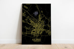 Mapospheres Ashgabat Night full page design poster city map