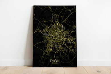Mapospheres Dijon Night full page design poster city map