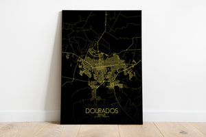 Mapospheres Dourados Night full page design poster city map