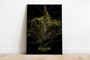 Mapospheres Dushanbe Night full page design poster city map