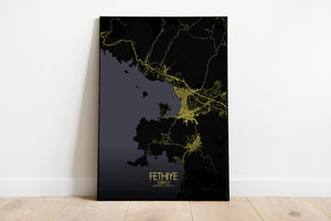 Mapospheres Fethiye Night full page design poster city map