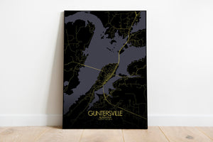Mapospheres Guntersville Night full page design poster city map