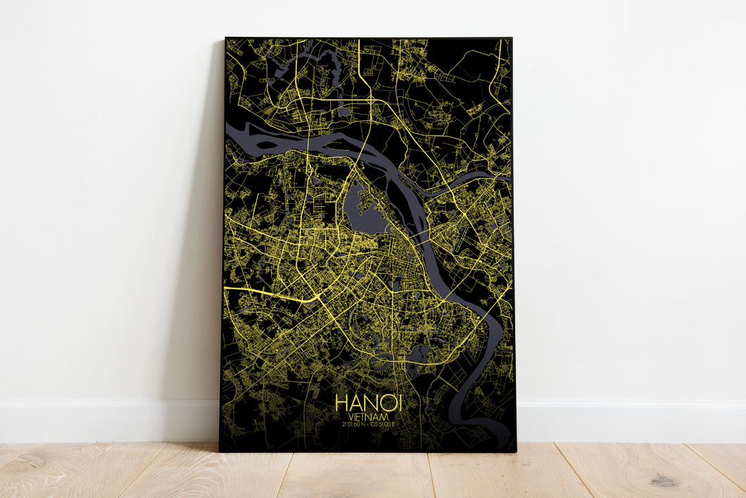 Mapospheres Hanoi Night full page design poster city map