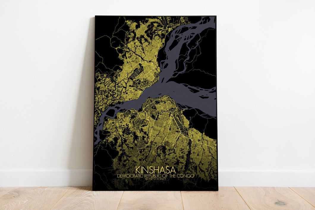 Mapospheres Kinshasa Night full page design poster city map
