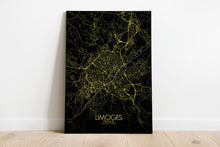Load image into Gallery viewer, Mapospheres Limoges Night full page design poster city map