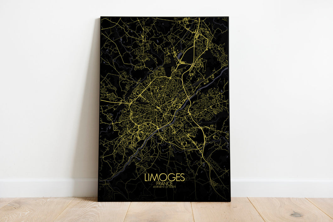 Mapospheres Limoges Night full page design poster city map