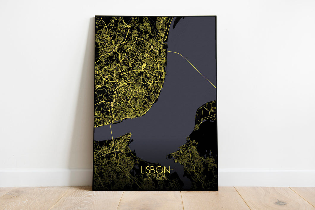 Mapospheres Lisbon Night full page design poster city map