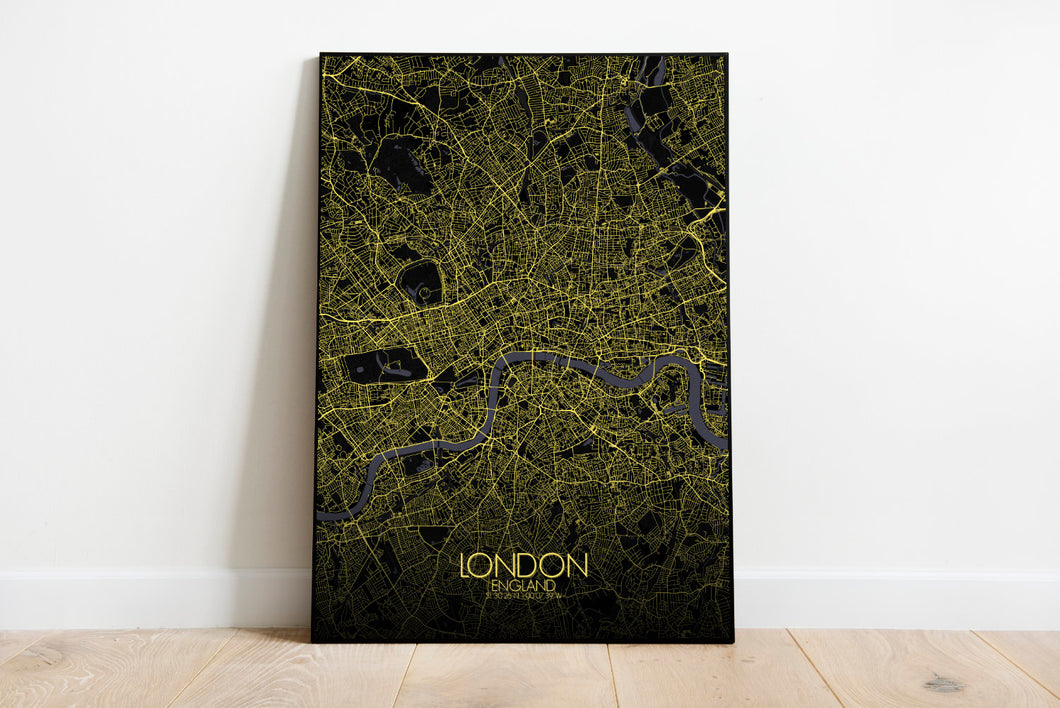 Mapospheres London Night full page design poster city map