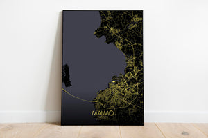 Mapospheres Malmo Night full page design poster city map