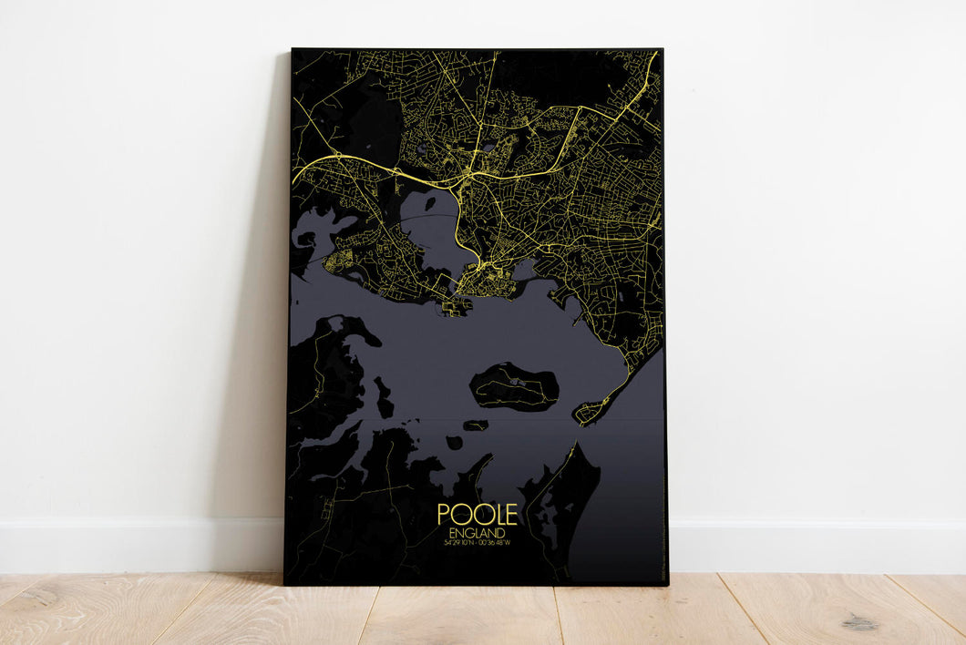 Mapospheres Poole Night full page design poster city map