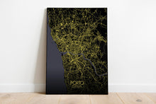 Load image into Gallery viewer, Mapospheres Porto Night full page design poster city map