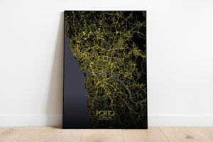 Mapospheres Porto Night full page design poster city map