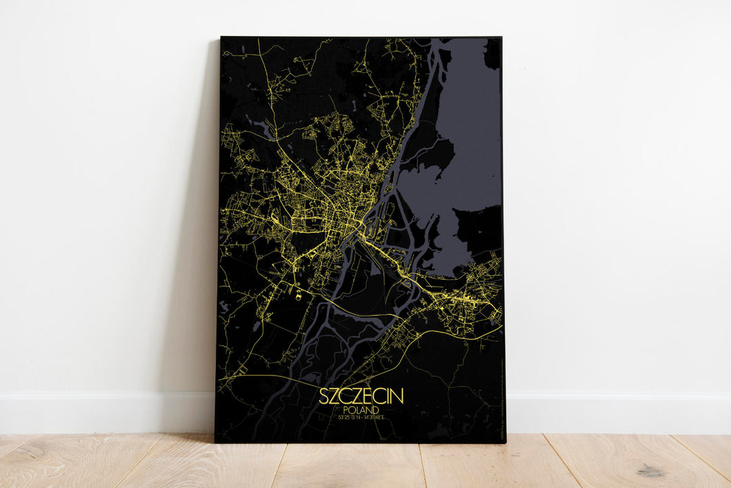 Mapospheres Szeczin Night full page design poster city map