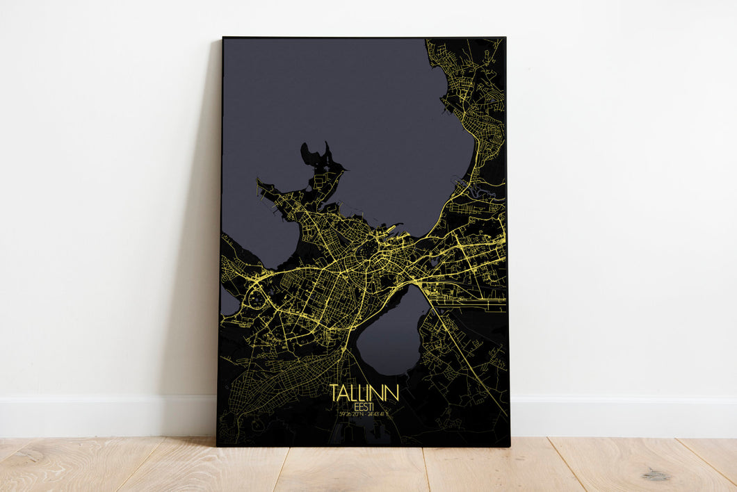 Mapospheres Tallinn Night full page design poster city map