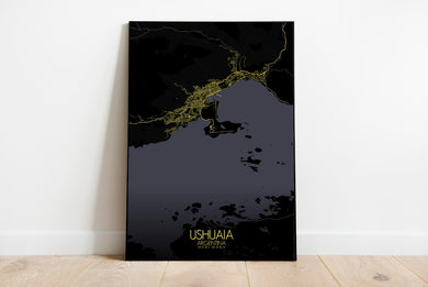 Mapospheres Ushuaia Night full page design poster city map