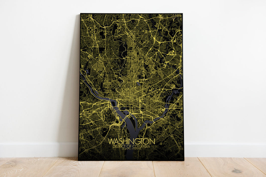 Mapospheres Washington Night full page design poster city map