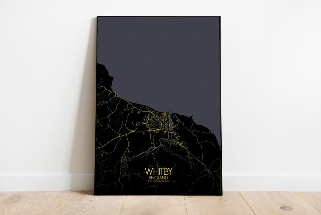 Mapospheres Whitby Night full page design poster city map