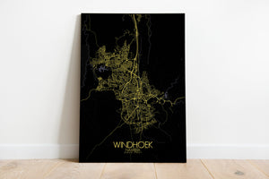 Mapospheres Windhoek Night full page design poster city map