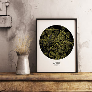 Mapospheres Abuja Night round shape design poster city map