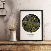 Load image into Gallery viewer, Mapospheres Amsterdam Night round shape design poster city map