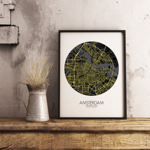 Mapospheres Amsterdam Night round shape design poster city map