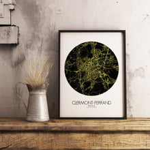 Load image into Gallery viewer, Mapospheres Clermont Night round shape design poster city map